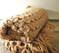 Shawl or throw...you decide!  So rustic! Crocheted Throw  Fringed  Shawl  Tan by ZenDenVintage on Etsy, $30.00