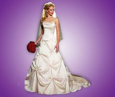 Strapless, fitted and gorgeous, this wedding dress is created from satin or taffeta, and embellished with beading.   ME LIKE ♥ !