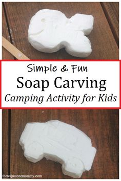 To start your project, use the point you made on the the craft stick to draw a basic shape on one side of your bar of soap. Then, using the edge of the craft stick, slowly begin shaving pieces of soap away from the shape you drew. We practiced knife skills when we did our soap carving, so we were careful to only cut away from ourselves. As you get close to the shape you are aiming for, you can begin taking smaller shavings off and using the point of your craft stick to add details.