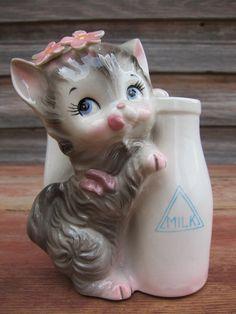 Image detail for -Vintage Gray Kitten Ceramic Planter Cat & Milk by PickersParadise
