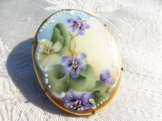 BEAUTIFUL Vintage Victorian Hand Painted Porcelain Monkey Face Flowers BROOCH | eBay