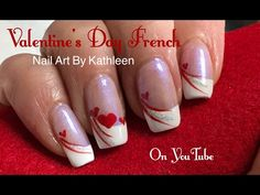 Easy Valentine's Day Nail Art - French Manicure With Hearts - Wedding Nails - Valentine's 💘 Heart Nail Designs, Valentine's Day Nail Designs, French Nail Designs, Winter Nail Designs, Nails Design, French Manicure With Design, French Tip Nail Art, French Manicures, French Art