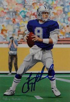 6917f3462 Troy-Aikman-Autographed-Dallas-Cowboys-Goal-Line-Art-Card-JSA-Auth