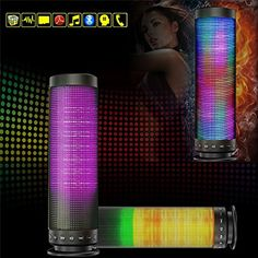 3D Pulse Wireless Bluetooth Portable Speaker with LED lights Colorful Led Music Box for Party Show work with iPhone iPad PC Smartphone Tablet. COLORFUL LED MUSIC BOX is special for it is novelty colorful LED shining design.The music box inset seven colors (RED, ORANGE, YELLOW, GREEN, CYAN, BLUE, and PURPLE) FOR CHOICE, and the light shining organized by different music. Either Bluetooth mode or AUX IN mode, RICHSO can still change the color by different rhythm.The musical note not only…