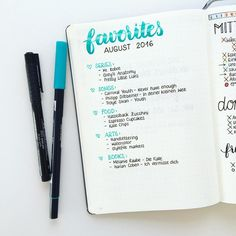 Bullet Journal Monthly Favorites List Layout for Bullet Journaling in your BuJo or Planner