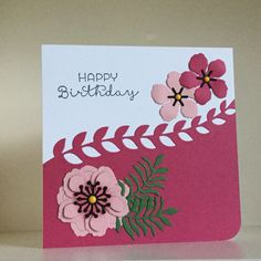 Die cut flowers, leaves and border from the Botanical Builder Framelits, in colours of blushing bride, rose red and garden green - created by Julia Jordan