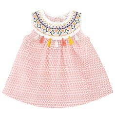 Buy John Lewis Baby Sleeveless Tassel Top, Pink/Multi Online at johnlewis.com
