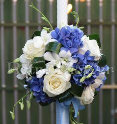 lumanari de botez cu flori naturale - Căutare Google Blue Weddings, Hanukkah, Floral Wreath, Bouquet, Wreaths, Google, Baby, Decor, Christening