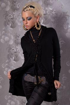 Naisten vaatteet - Neuletakit ja-jakut - Musta neuletakki - ClothStation