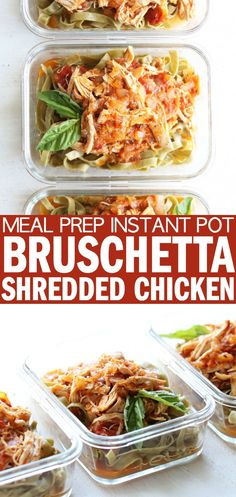 I'm so excited to share thisMeal Prep Instant Pot Bruschetta Shredded Chicken with you!! It makes for a perfect gluten free weeknight dinner, or throw them into meal prep containers for an easy grab and go meal! thetoastedpinenut.com #thetoastedpinenut #mealprep #instantpot #glutenfree #dinner #weeknight #meal #family #dairyfree #shredded #chicken