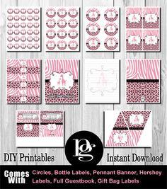 Pink Safari Baby Shower Printable - DIY $14.95