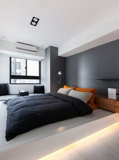Unbelievable Cool Ideas: Minimalist Bedroom Green Decorating Ideas traditional minimalist home japanese style.Minimalist Home Closet Chic minimalist bedroom design white.Minimalist Home Architecture Glass Walls. Small Apartment Bedrooms, White Apartment, Apartment Bedroom Decor, Apartment Design, Bedroom Wall, Cozy Bedroom, Apartment Interior, Room Interior, Men Apartment