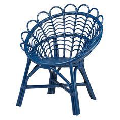 Antoinette Rattan Navy Kids Chair