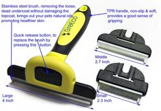 GreEco 3-in-1 Professional Deshedding Tool and Pet Grooming Brush, Including 3 Size brushes, For Small, Medium and Large Pets, Especially Excellent for Dogs   Cats With Short or Long Shedded Hair. Dramatically Reduces Shedding Hair By Up To 90% In Minutes. Promoting Healthier Skin and Shinnier Fur ** Click on the image for additional details.