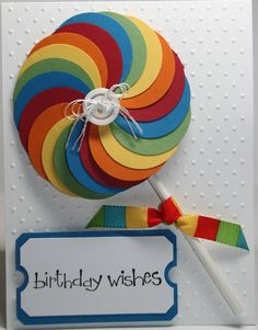 Happy Birthday Lollipop card for girl or boys Stampin Up. $2.50, via Etsy.