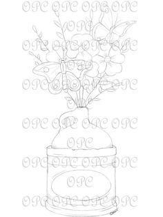 Digital Stamp Flower Jug by OakPondCreations on Etsy