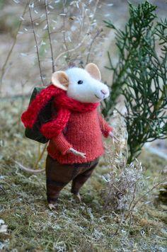 Little Traveler Mouse Needle Felted Doll by rustlesfromthemeadow