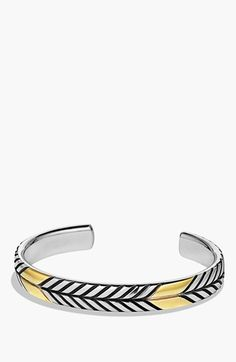 Men's David Yurman 'Modern Chevron' Cuff Bracelet with Gold - Two Tone