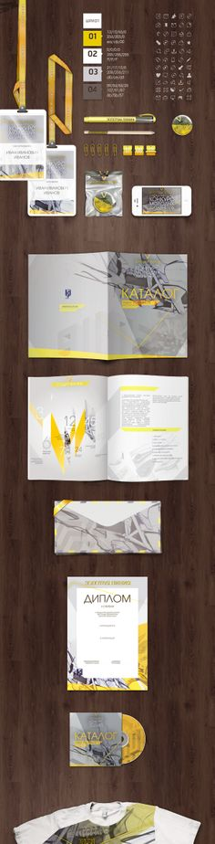 Gray + yellow branding