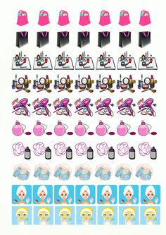 70 Printable GIRLY Stickers 1'' by FantasyPlanners on Etsy
