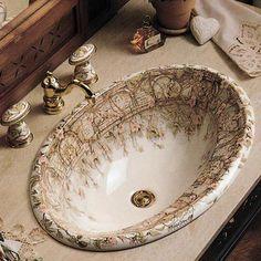 "This really is a wonderful sink. Kohler ""Tale of Briar Rose"" design on centrepiece self rimming bathroom sink. Victorian Bathroom, Victorian Decor, Victorian Homes, Victorian Kitchen, Casa Kardashian, Drop In Bathroom Sinks, Washroom, Small Bathroom, Master Bathroom"