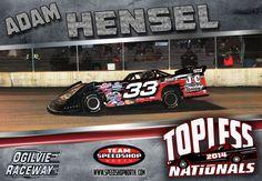 Adam Hensel Topless Nationals #speedshopnorth #adamhensel #racing #latemodel #car #33 #wissota #nascar #dirt #track #ogilvieraceway #ogilvie #topless #hensel #radmanracing Late Model Racing, Dirt Track, Nascar, Race Cars, Drag Race Cars