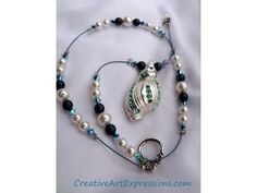 Creative Art Expressions Handmade Blue & Silver Shell Necklace Jewelry Design Or Sea Breeze Gifted