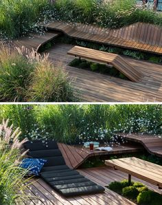 Jeremy Jih of J.Roc Design recently completed Wood Flow, a sculpted, modular roof deck that's 600 square feet in size and surrounded by greenery. A pergola made from Sapele wood slats sits above a living green wall and provides a small covered area for dining on the roof. Modular sapele wood pieces have been used to create curved benches that wrap around the rooftop deck, while some sections r..