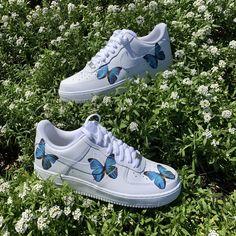 Blue HD Clear Butterfly Air Force 1 — vintagewavez Tenis Air Force, Nike Air Force Ones, Butterfly Shoes, Blue Butterfly, Butterfly Design, Custom Sneakers, Custom Shoes, Nike Custom, Custom Af1