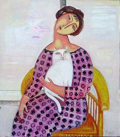 Cat and people paintings. Tatyana Gorshunova - Woman in the Armchair.