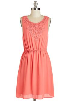Glows On and On Dress - Mid-length, Woven, Coral, Solid, Crochet, Casual, Sundress, A-line, Sleeveless, Spring