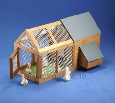 Dolls House Miniatures Animals and Birds - Large Chicken House & Run With Chickens