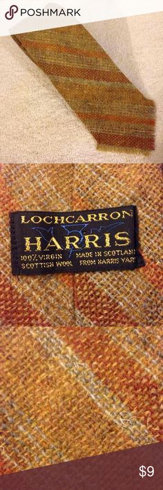 Lochcarron Harris Tweed Gold Stripe Wool Tie Lochcarron Harris Tweed Scottish Wool Necktie! Great condition!  I welcome offers and love bundling! Just post in the comments what items you want and I will combine them for you with the deal and one shipping price! Lochcarron Accessories Ties