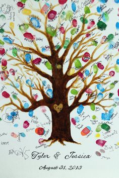 Wedding Thumbprint Tree Canvas Hand Painted and by haveadaisy, $70.00