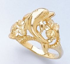 Gold Nautical Ring Ring Dolphin Ring W Two Plumeria Flowers   Click Image  Twice For More