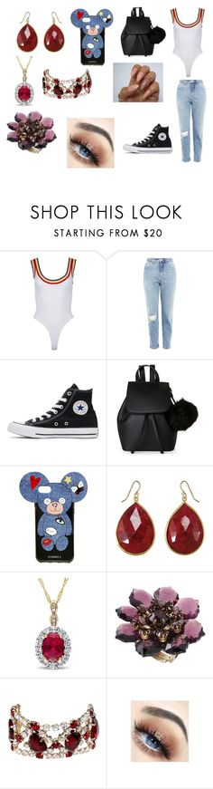 """""""Sans titre #1704"""" by heartss-13 ❤ liked on Polyvore featuring Topshop, Converse, IMoshion, Iphoria, Michal Negrin and Dsquared2"""