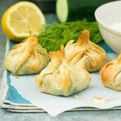 Little filo pastry parcels stuffed with spinach, feta cheese and sundried tomatoes.