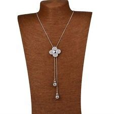Elegant Flower Clover Crystal Fringe Silved Plated Long Chain Necklace Pendant