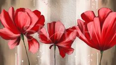 Cuadro de flores grandes rojas Hall Painting, Canvas Painting Tutorials, Flower Painting Canvas, Acrylic Painting Flowers, Abstract Flowers, Painting Frames, Beautiful Paintings, Painting Inspiration, Bunt