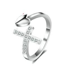 Sterling Silver Cute Heart & Cross CZ Adjustable Ring – K&MSilver
