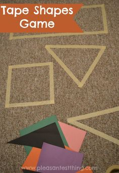 Shapes activities: Practice shapes and get the kids moving with this tape shapes game. Put tape on your carpet or floor. Toddler Activities, Preschool Activities, Shape Activities, Toddler Learning Games, Learning Games For Preschoolers, Toddler Crafts, Toddler Fun, Teaching Shapes, Shape Games