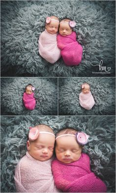 pink and grey - newborn twins girls pictures by KristeenMarie Photography out of Indianapolis, IN