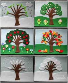 Four Seasons Felt Board by Crafts by Amanda Felt Board Stories, Felt Stories, Kindergarten Crafts, Preschool Crafts, Easy Crafts, Crafts For Kids, Seasons Activities, Sequencing Activities, Family Activities