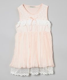 Look at this Peach Tiered Ruffle Babydoll Dress - Infant, Toddler & Girls on #zulily today!