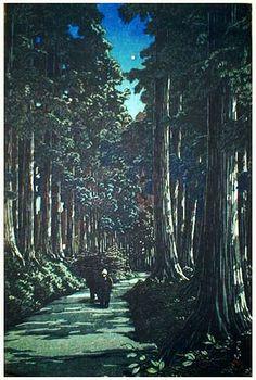hanga gallery . . . torii gallery: Row of Crytomerias, Nikko by Kawase Hasui