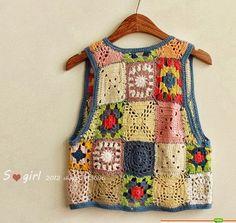 Granny Love Challenge N° 103 grannys gilet - Dane et le crochet Point Granny Au Crochet, Débardeurs Au Crochet, Beau Crochet, Gilet Crochet, Mode Crochet, Granny Square Crochet Pattern, Crochet Woman, Crochet Blouse, Crochet Hooks