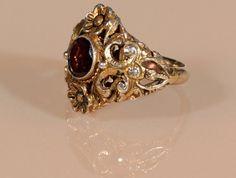 Antique Victorian Vermeil Ring Faceted Garnet by ThisisParis