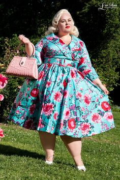 Birdie Dress with Three-Quarter Sleeves in Turquoise and Pink Floral Print