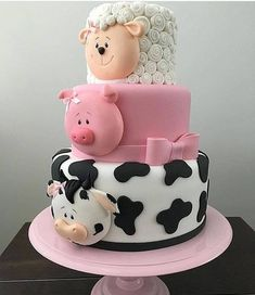 Baby Shower Cake this multi tiered cake is so cute and perfect for so many occasions, it has a co… Cow Cakes, Fondant Cakes, Cupcake Cakes, Pig Cupcakes, Farm Animal Cupcakes, Fondant Bow, Pink Cakes, Fondant Tutorial, Fondant Flowers