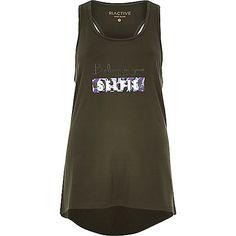 RI Active khaki slogan print sports vest - print t-shirts / vests - t shirts / vests - women